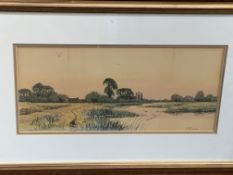 Francis George Fraser (1879-1940), watercolour of a riverside scene