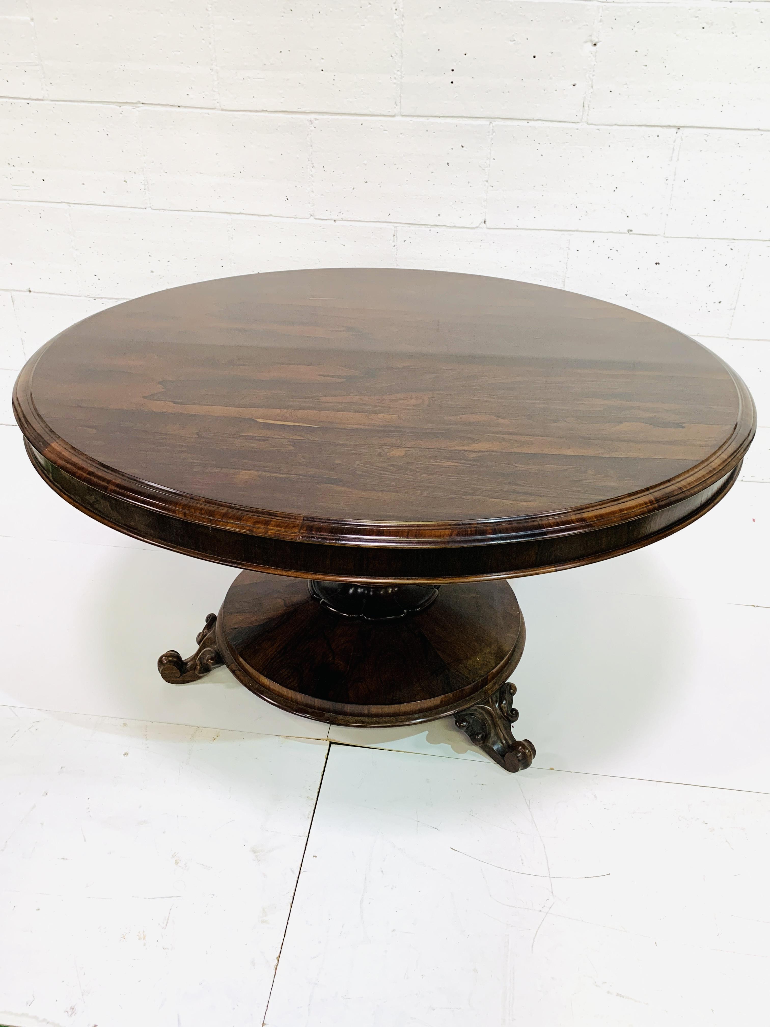 Victorian circular Rosewood tilt top table - Image 7 of 9