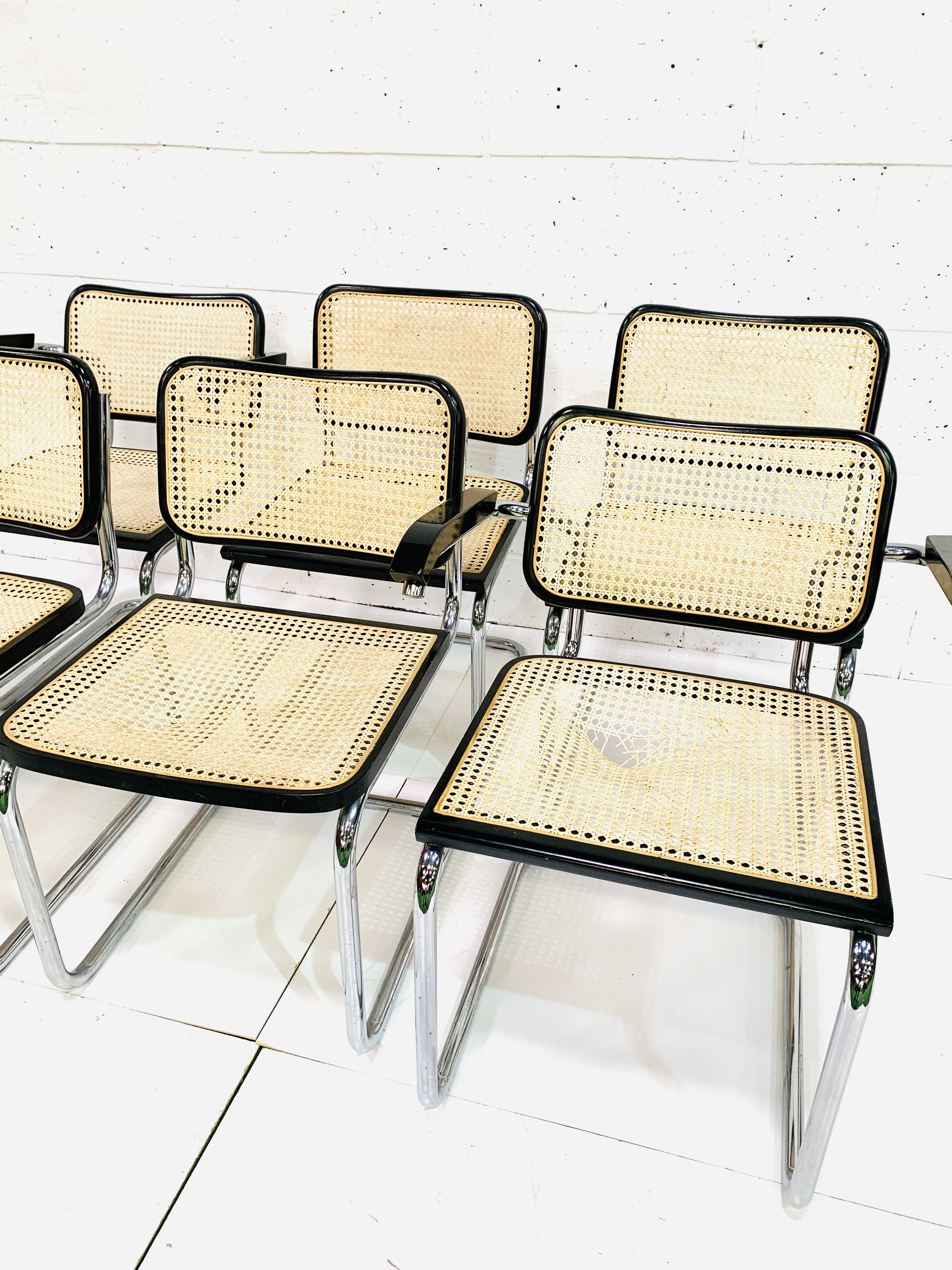 Group of six Italian chrome framed chairs - Image 5 of 6