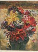 Three framed oil paintings still life flowers