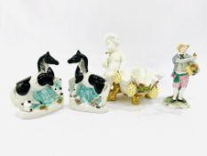 Moore porcelain dish, Copeland & Garrett porcelain figurine, pair of Staffordshire piebald horses