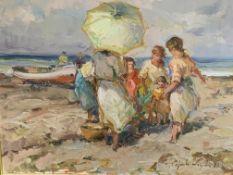 Framed oil on canvas of a family on a beach