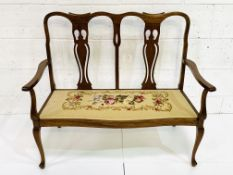 Mahogany framed two seat settle