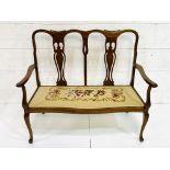 Mahogany framed two seat settle