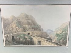 Two framed and glazed prints of very early steam trains