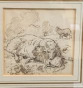 Alfred William Strutt RBA (1856-1924) pen and ink of a ewe and lamb