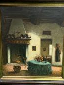 Framed oil on canvas of a house interior, signed Carl Estez