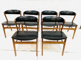 Six 1960's teak framed chairs