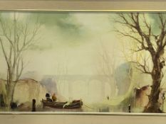 Framed oil on canvas of a boat on a river by a bridge