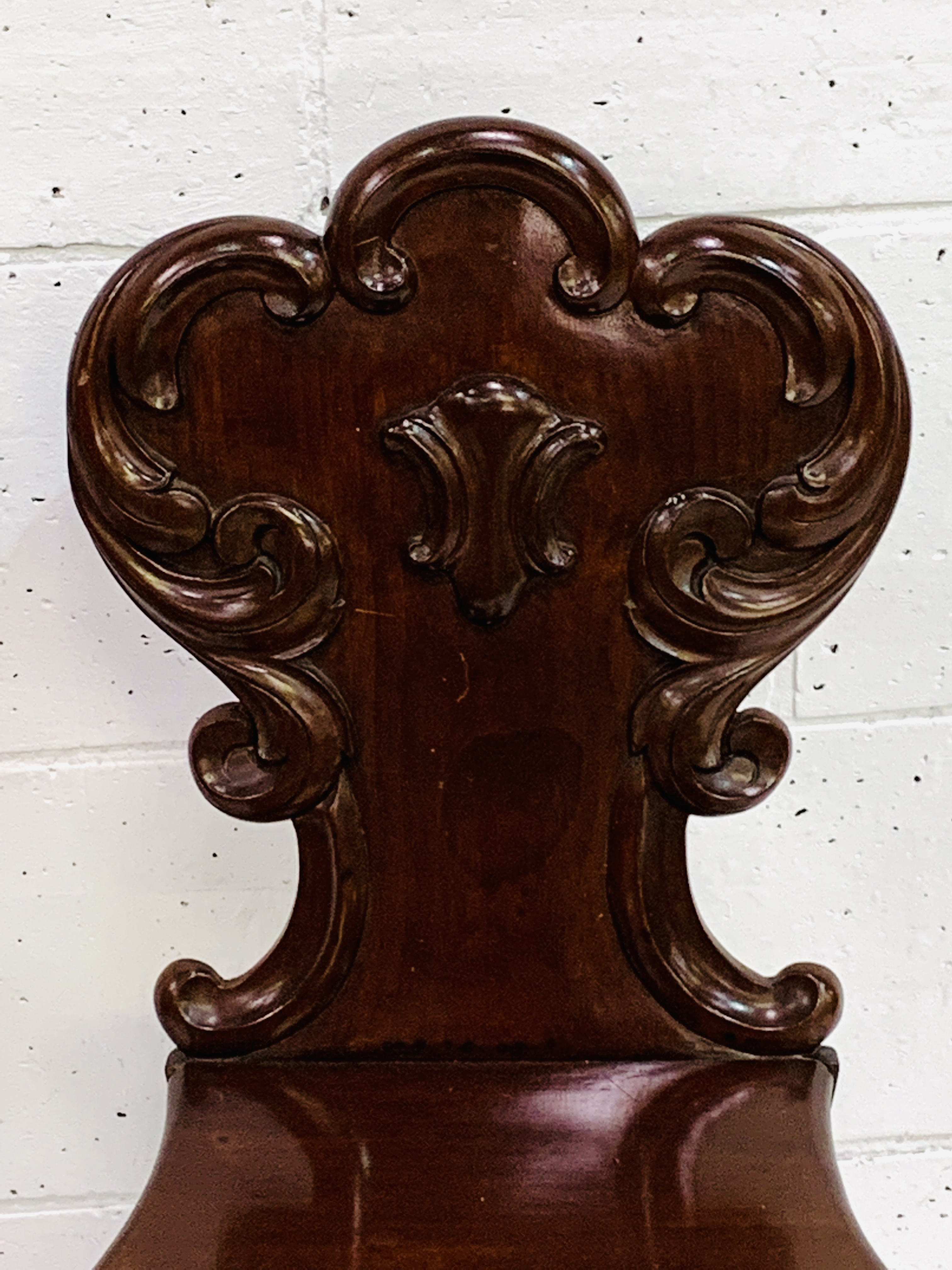 Two mahogany hall chairs with shaped backs - Image 2 of 4