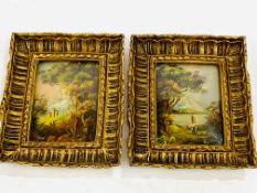 Two framed and glazed gilt oil on copper miniatures of figures in a woodland scene