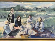 """Gilt framed oil on canvas, """"The Picnic"""", by Penny Roberts"""