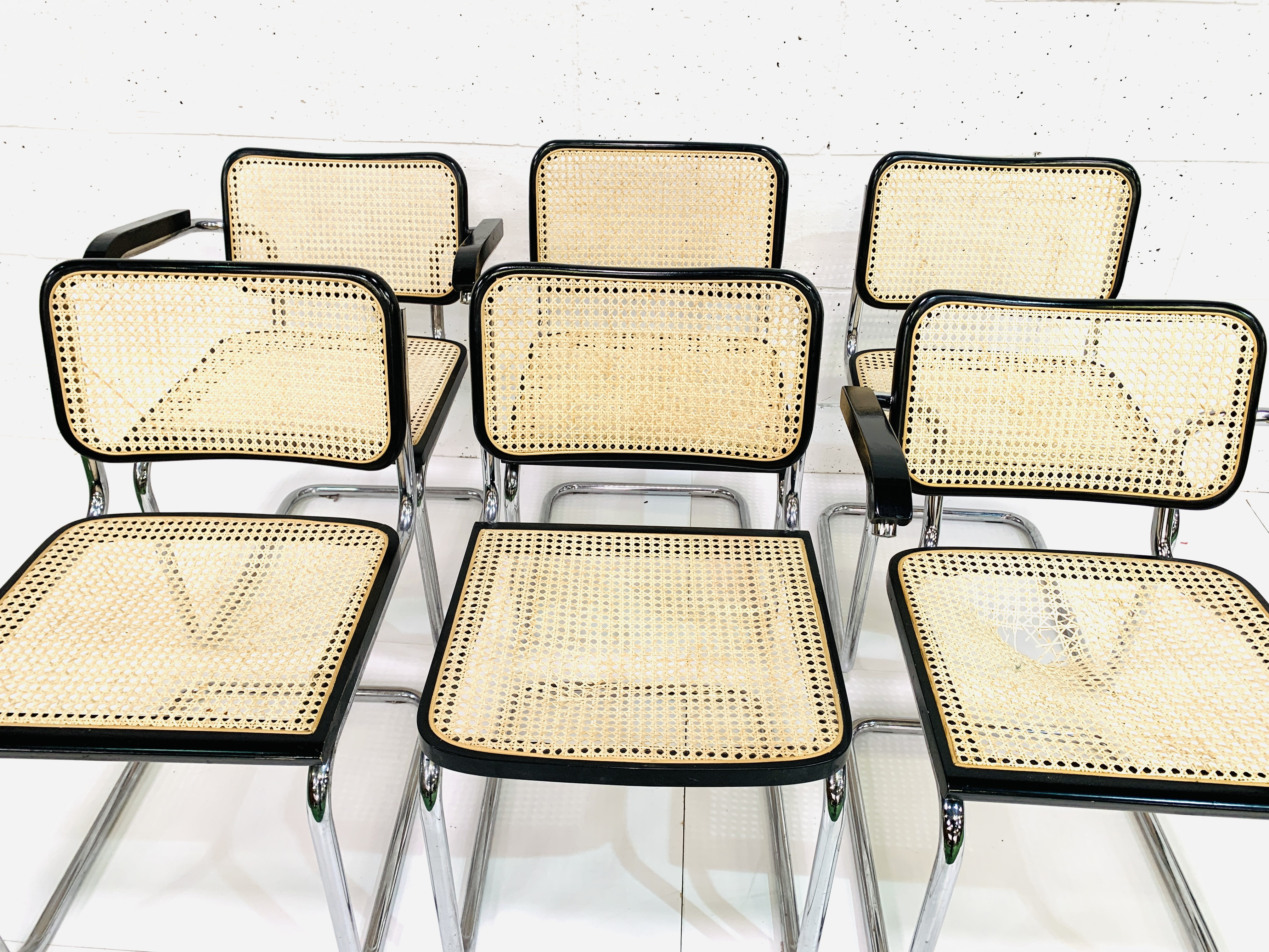 Group of six Italian chrome framed chairs - Image 2 of 6