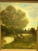 Heavy gilt framed oil on canvas of a cow in a meadow by a river