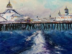 Clive Fredriksson, contemporary oil on canvas of Eastbourne Pier(?)