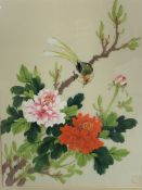 Framed and glazed Oriental watercolour on silk of a bird in a bush with flowers