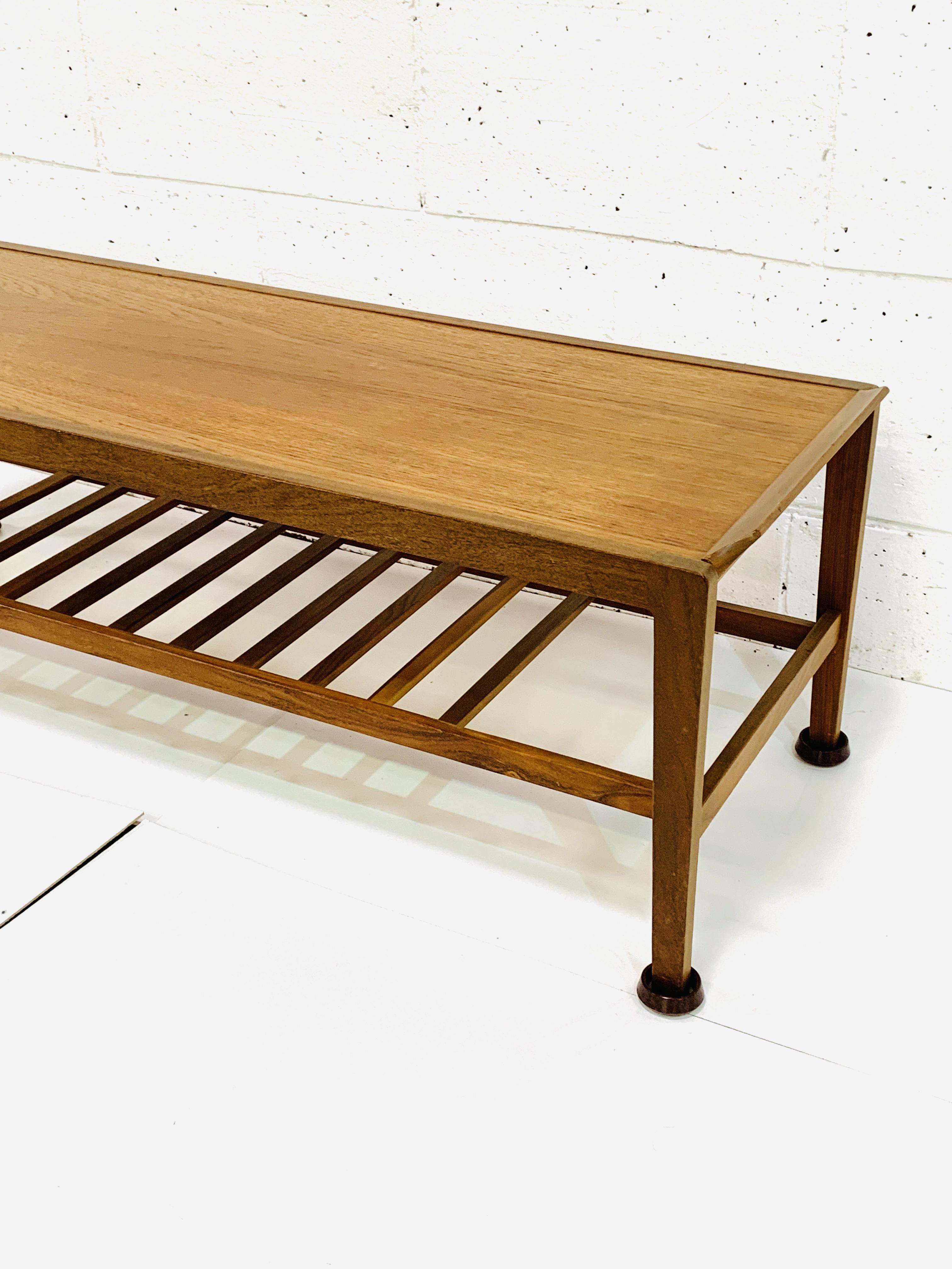 Teak coffee table with newspaper rack under - Image 3 of 4