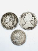 A Queen Anne sixpence 1708, a George IV shilling 1824 and a William III shilling