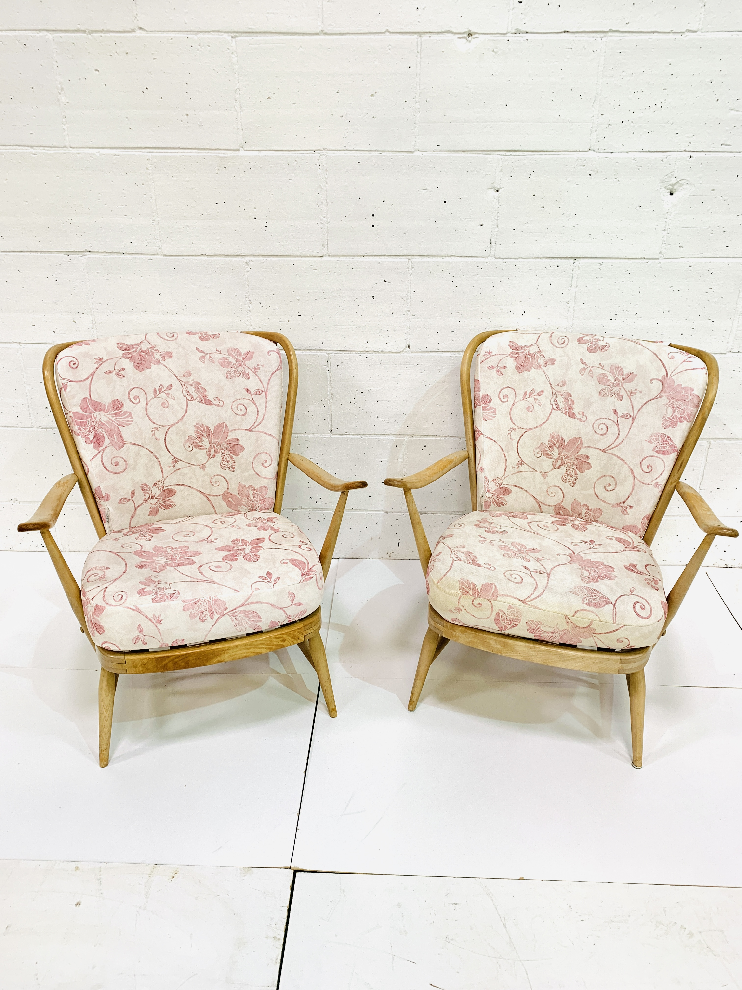 Pair of Ercol rail back armchairs - Image 2 of 4