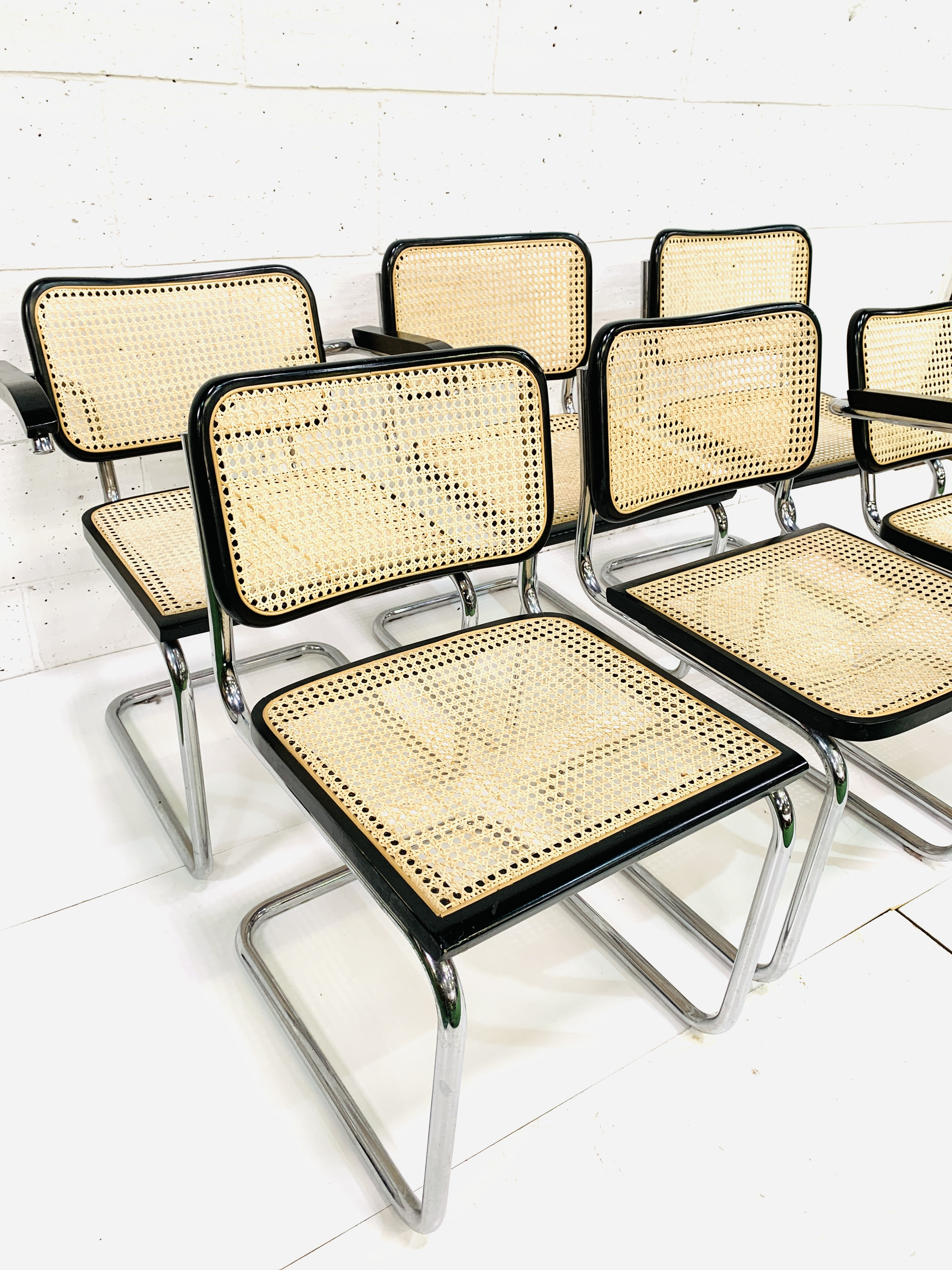 Group of six Italian chrome framed chairs - Image 3 of 6