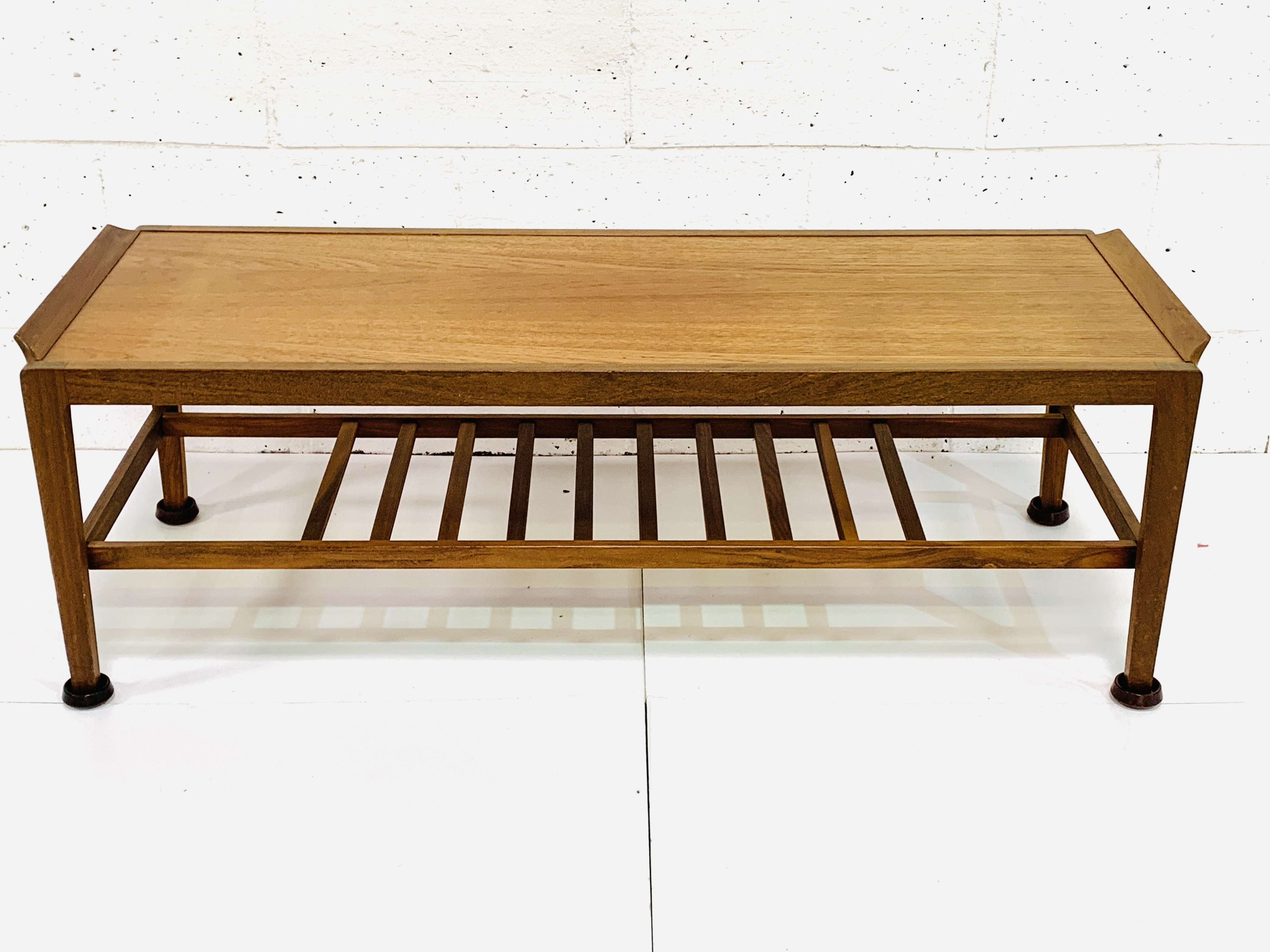 Teak coffee table with newspaper rack under - Image 2 of 4