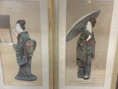 Two framed and glazed Oriental watercolours on silk portraits of a lady