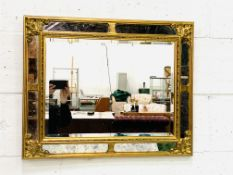 Gilt and mirror framed bevelled edge wall mirror