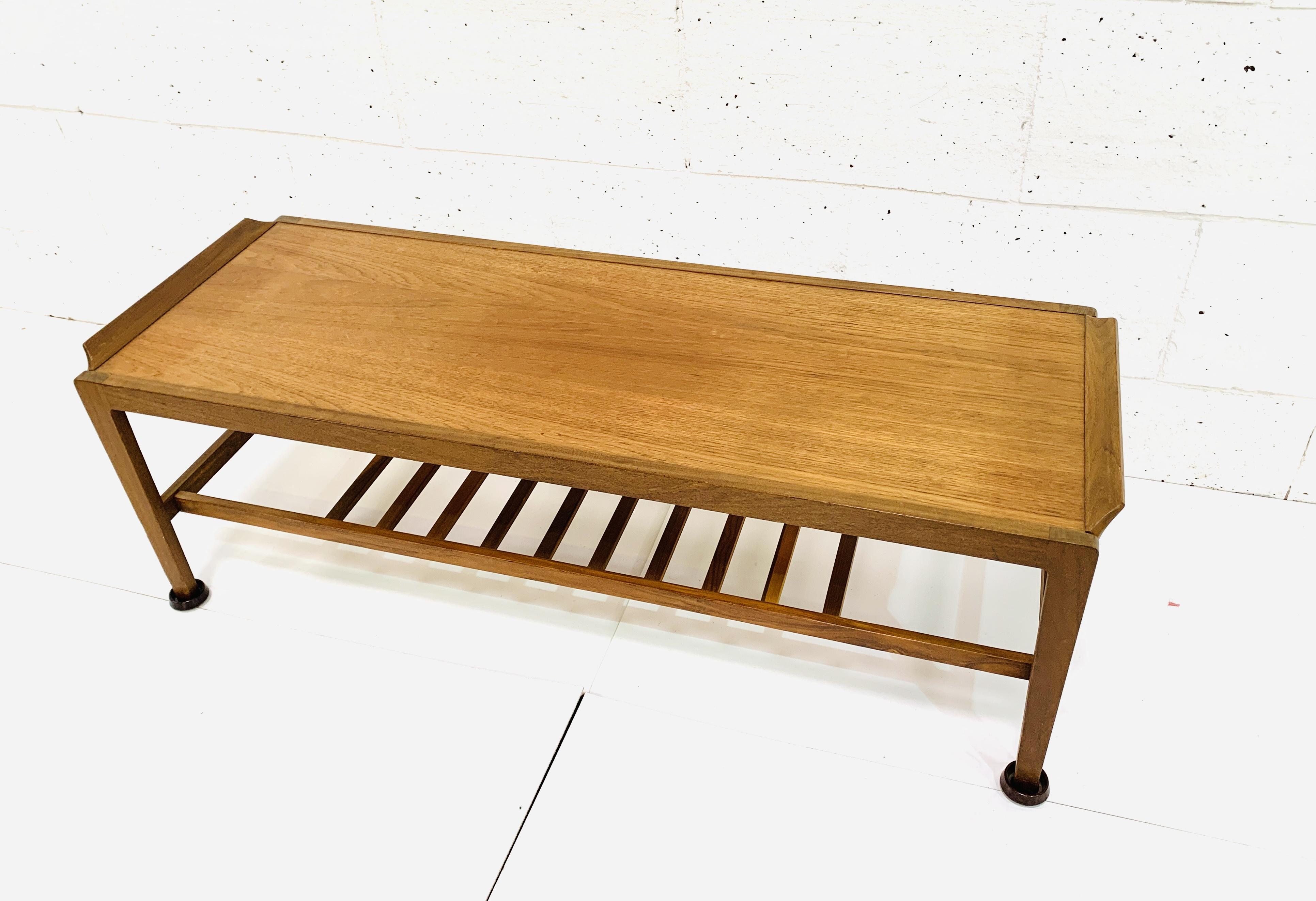 Teak coffee table with newspaper rack under - Image 4 of 4