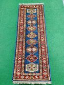 Blue ground Kazak runner