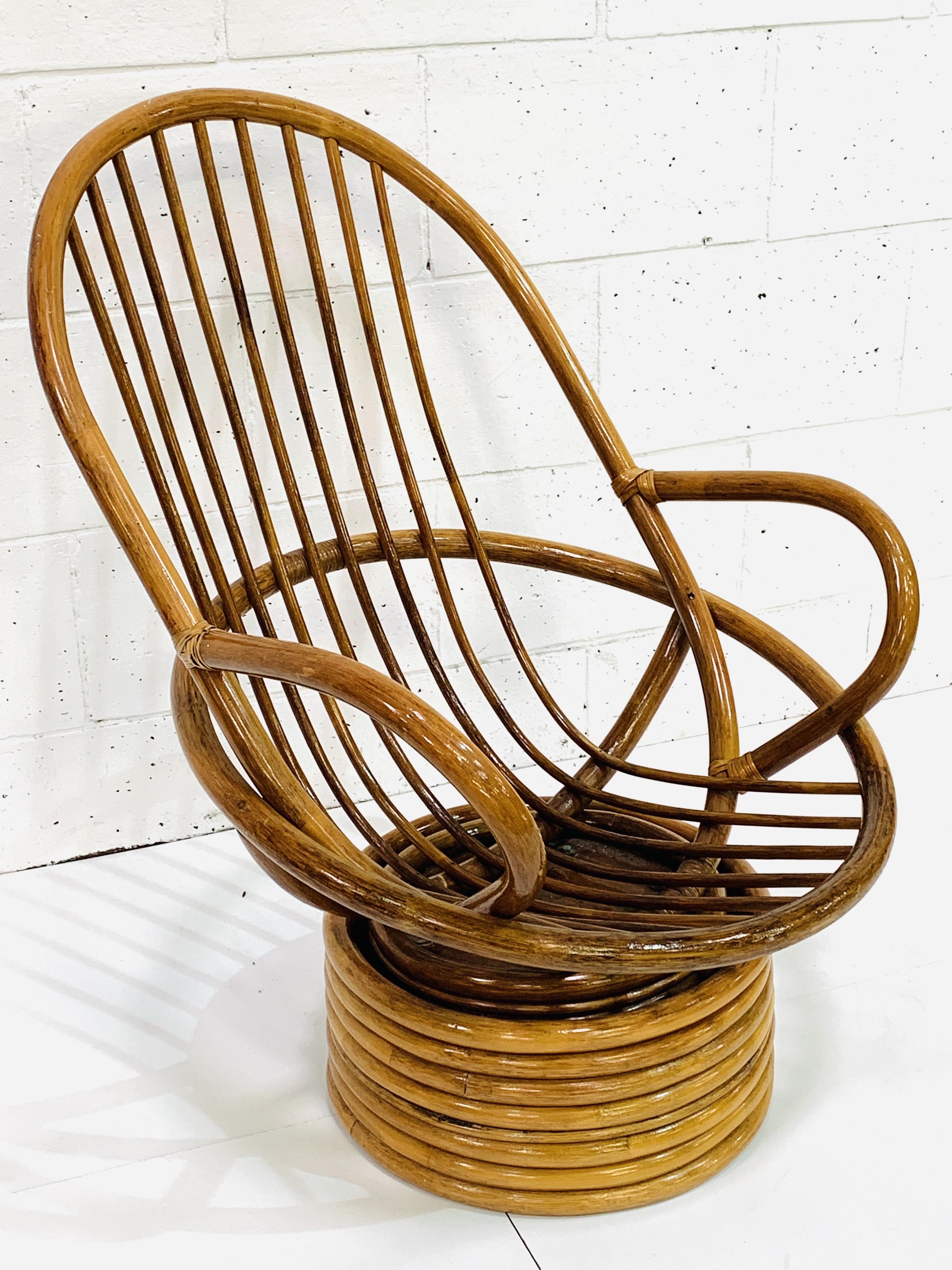 Cane swivel tub armchair - Image 2 of 3