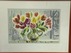 Framed and glazed watercolour still life flowers and a vase