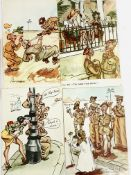 """Four 1944-45 unused authorised British Army """"saucy"""" postcards for troops."""