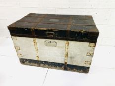 19th Century metal bound trunk by Matthews and Co. of Portsmouth
