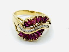 Art Deco style 18ct gold ruby and diamond ring