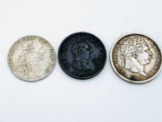 George III Silver Shilling 1787, a George III Silver Shilling 1817, and a George III penny 1806