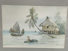 Two framed watercolours of fishing