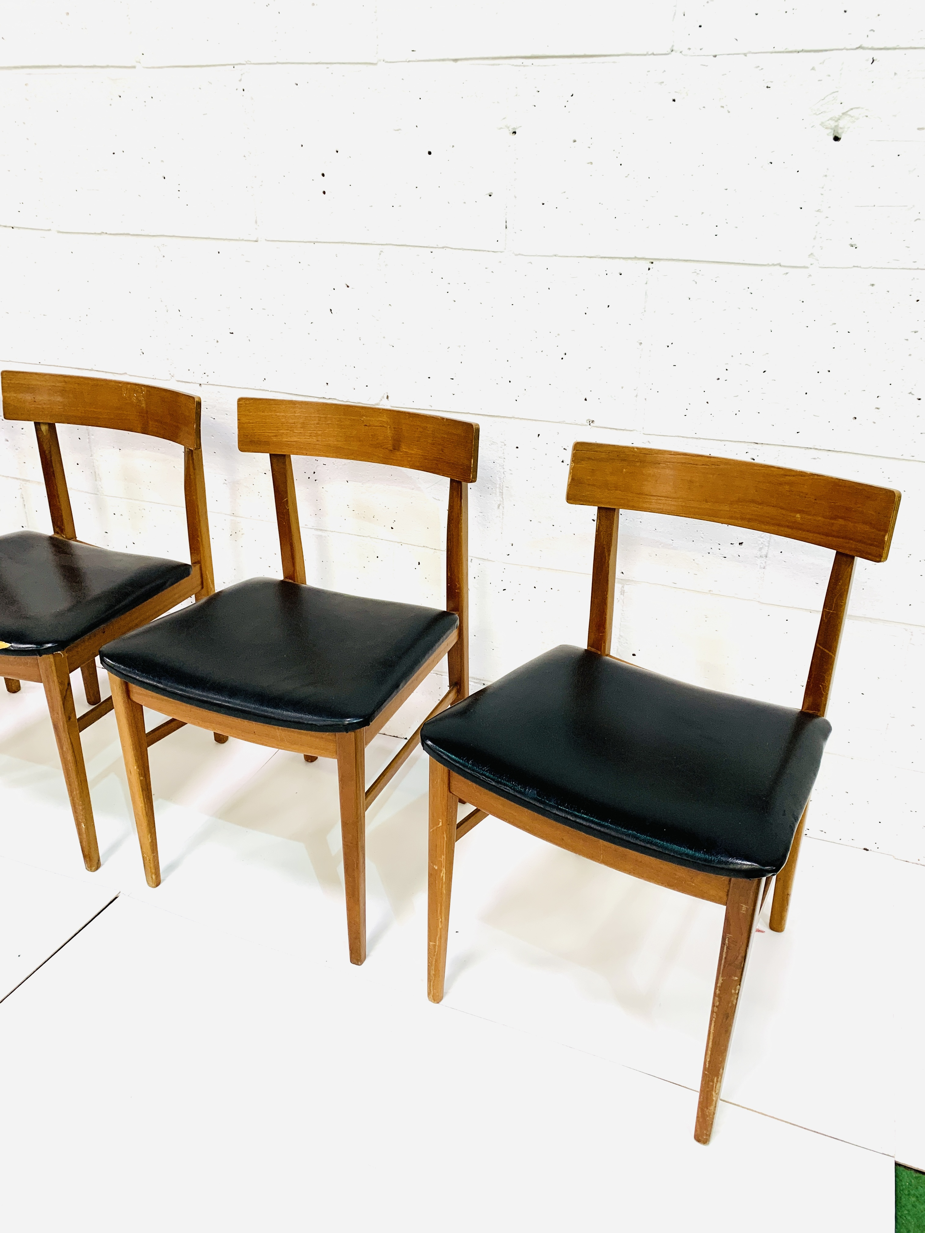 Four teak framed curved back dining chairs - Image 3 of 3