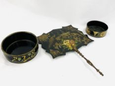 Black shaped wooden fan together with two papier mache bowls
