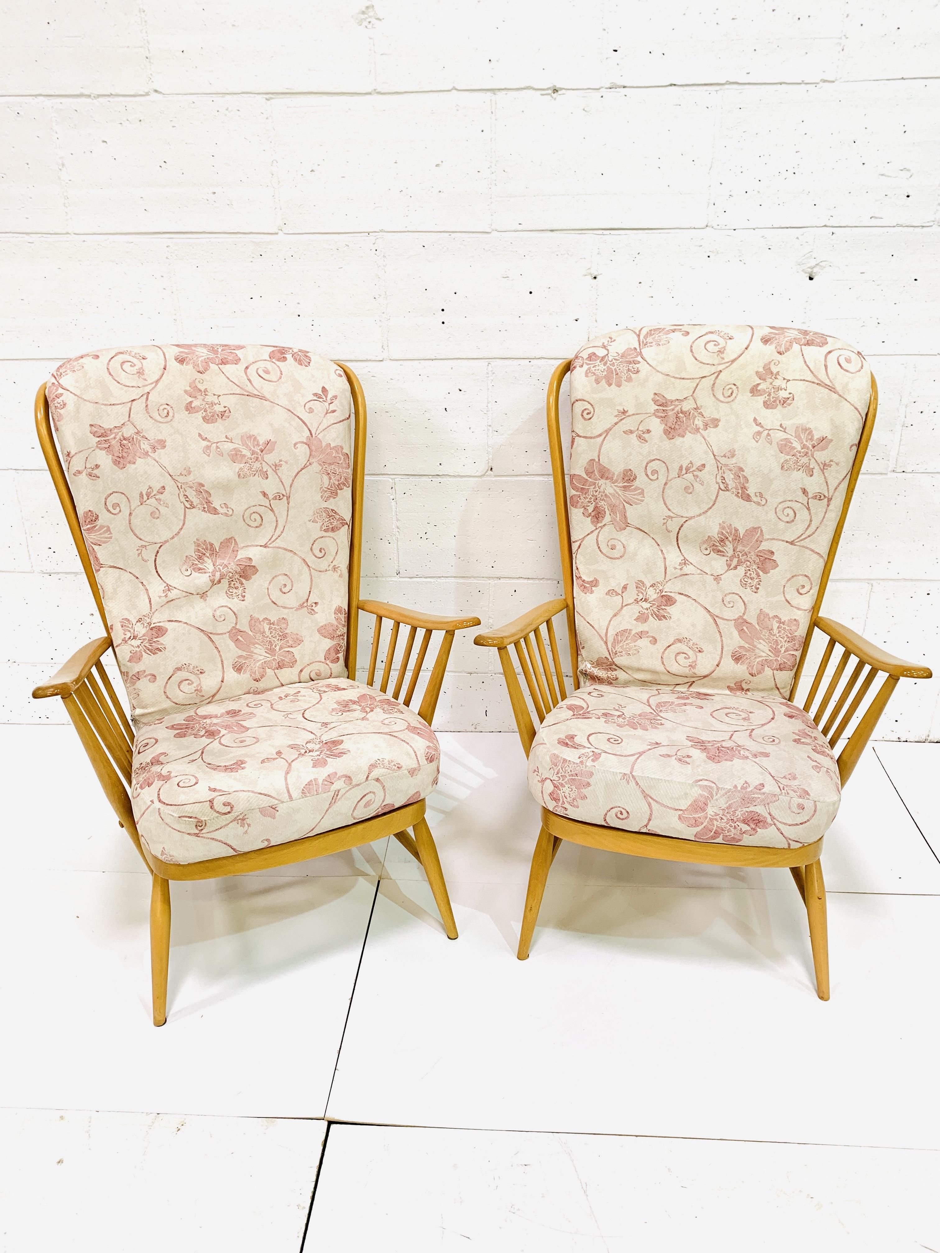 Pair of Ercol high rail back armchairs