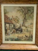 Walnut framed and glazed watercolour of cart horses at a village forge, monogram F.B