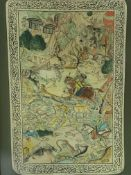 Framed and glazed hand coloured Indian panel