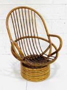 Cane swivel tub armchair