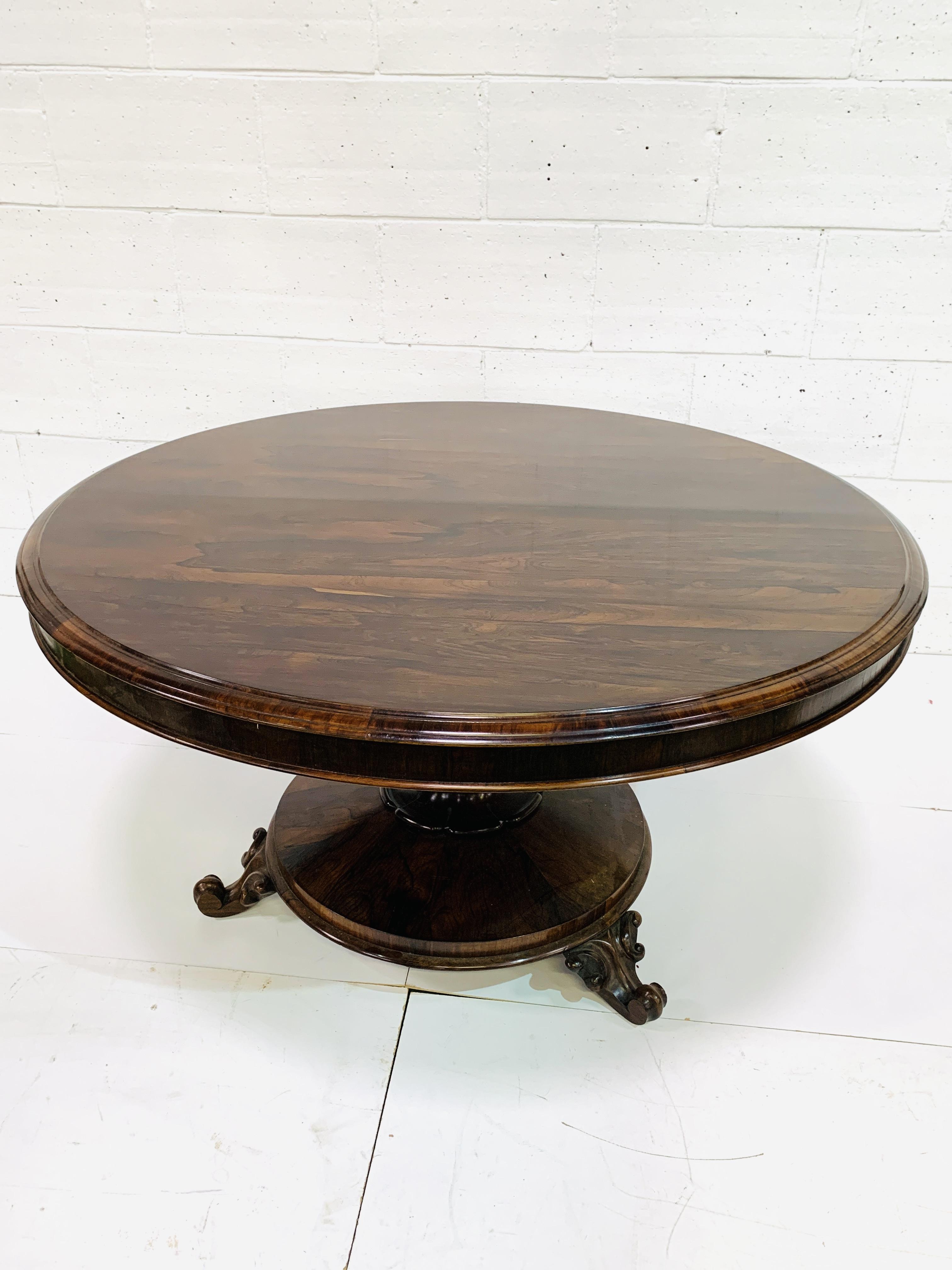 Victorian circular Rosewood tilt top table - Image 6 of 9
