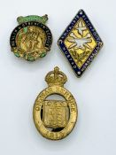 3 early 20th century lapel badges