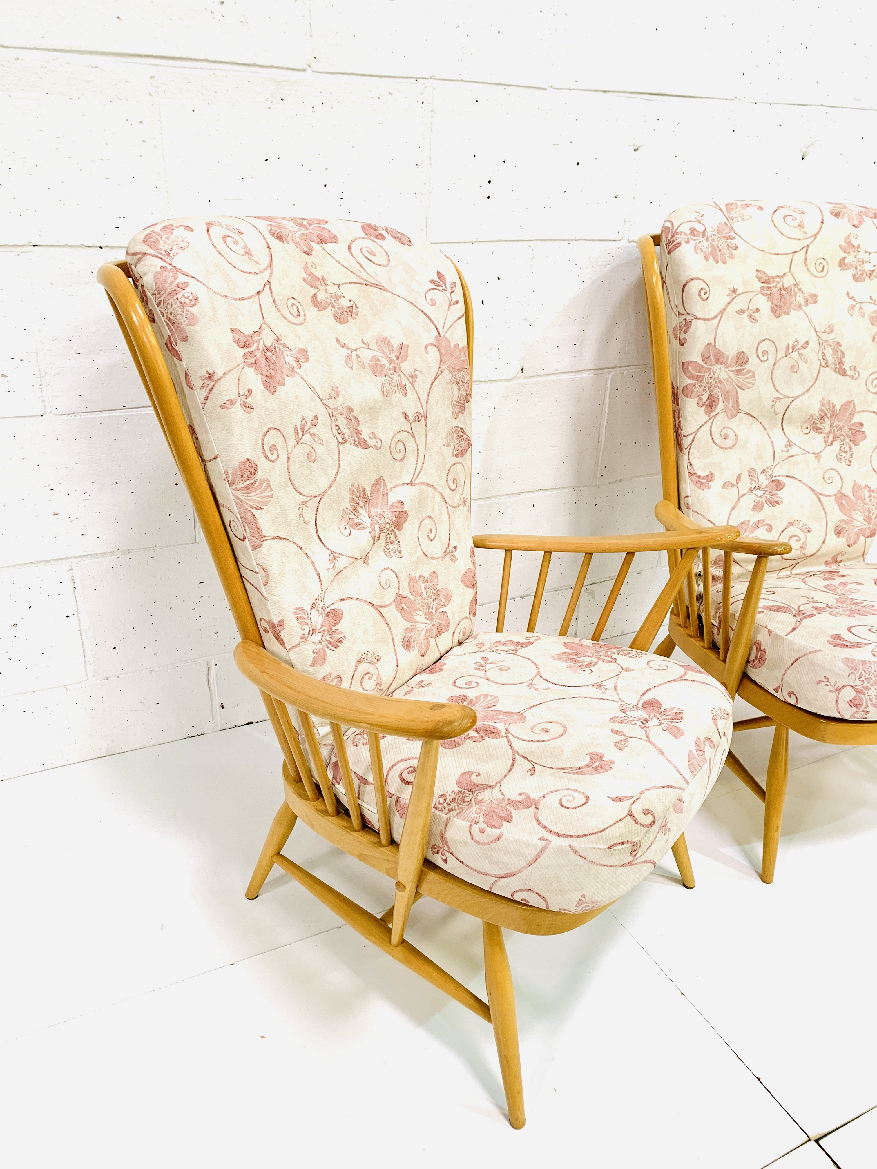 Pair of Ercol high rail back armchairs - Image 2 of 4