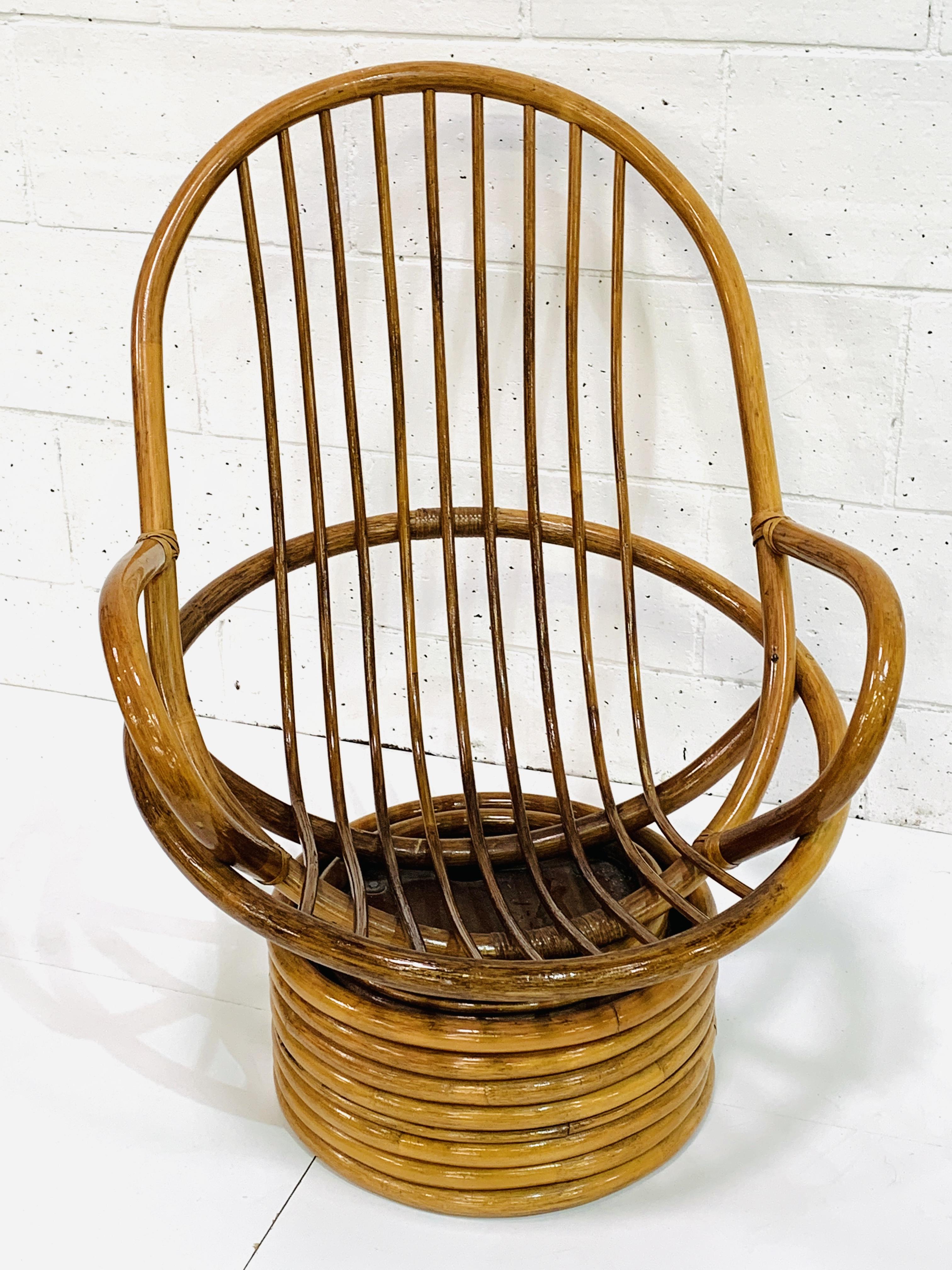 Cane swivel tub armchair - Image 3 of 3