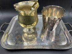 Silver plate tray together with 2 silver plate ice buckets and a pair of brass tongs