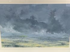 Framed oil on canvas signed John Hutchins, of the Serengeti