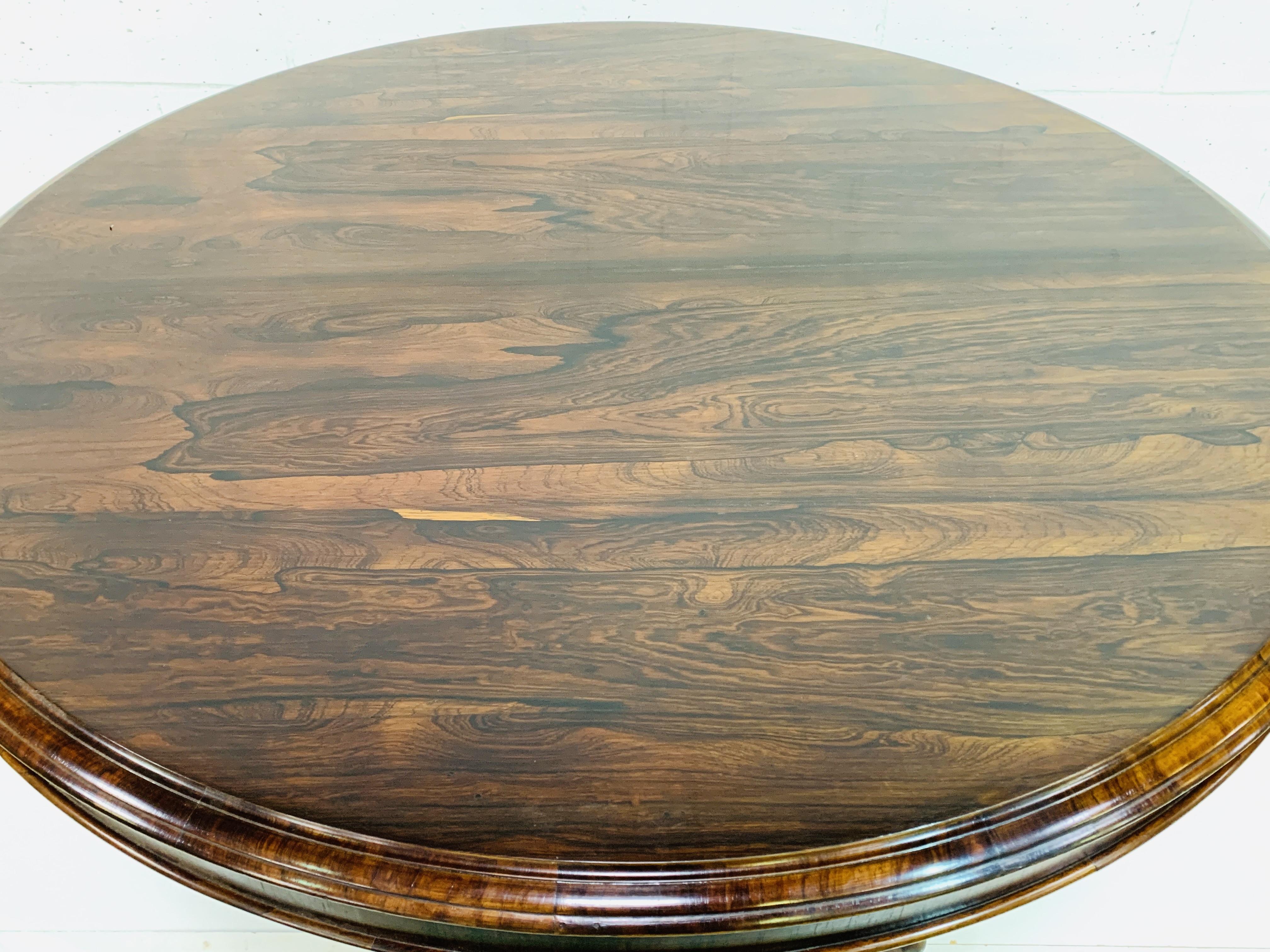 Victorian circular Rosewood tilt top table - Image 4 of 9