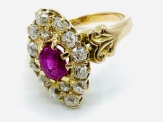 18ct gold Edwardian diamond and ruby marquise shaped ring